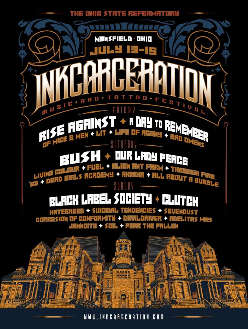 Inkcarceration music and tattoo festival announces reverbnation 13 15 in mansfield oh at the historic ohio state reformatory is just two months away at inkcarceration not only will attendees rock out to three malvernweather Image collections
